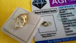 Special 8.50 Carat Brazilian Gold Yellow Quartz Gemstone Certificate