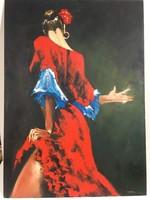 István Károlyi: Spanish dancer, oil painting