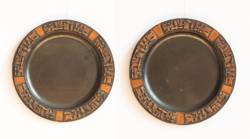 Huge Bronze Wall Plate Pair - Retro Craftsman Copper Wall Plates - Wall Decorations