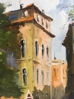 István Károlyi: Venetian lagoon, oil painting