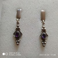 Amethyst stone silver earrings
