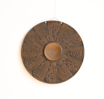 Retro craftsman gong, copper / bronze wall plate, marked ornament
