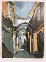 István Károlyi: old town street, oil painting