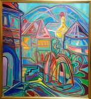 István Kozma - quarry 75 x 68 cm oil on canvas 1996
