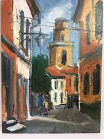 István Károlyi: sunny old town street, oil painting