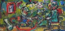 Ernő Tóth - rocking horse 30 x 60 cm oil, canvas 2004