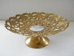 Pearl-lined copper-plated serving bowl, centerpiece