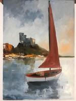 István Károlyi: red sailboat, oil painting