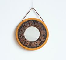 Retro Bronze Framed Wood Mirrored Wall Mirror - Copper Craftsman Horoscope Pattern Wall Decoration