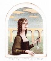 Artner margit - glass bell 10 x 7.5 Cm etching