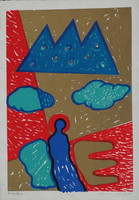 János Aknay - pair of angels 40 x 28 cm colored sieve 2001