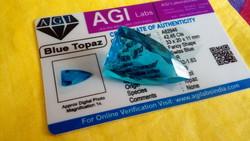 42.45 karátos brazil kék topáz drágakő tanúsítvánnyal