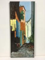 István Károlyi: Mediterranean alley, oil painting