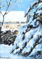 Charles Sterbenz: Sopron Lutheran Church garden painting
