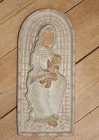 Győrbíró enikő glazed ceramic mural relief - madonna with child - 29.5 cm.