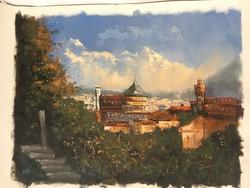 István Károlyi: view of Florence, oil painting