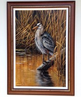 Half price gray heron in the reed oil on canvas 60x40cm + frame