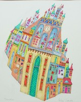 Miller gabriella - towers 37 x 26 cm watercolor on paper