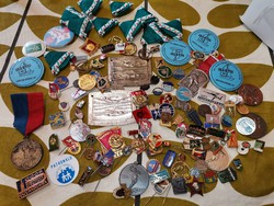 Assorted badges, ribbons, plaque