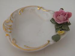 Dresden gyűrűtartó porcelán tálka