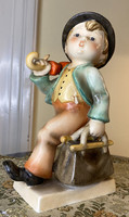 About one forint - antique hummel goebel merry wanderer # 1 - tmk 1 - 1935-1949