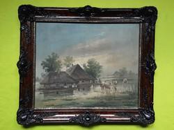 Dénes Mesterházy: landscape with cows.