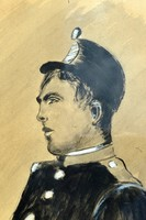Soldier portrait with Mednyánszky signature