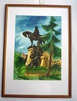 Botár jelzéssel a kolozsvári Mátyás szoborcsoportot ábrázoló festmény