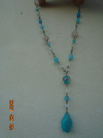 Natural chalcedony necklace with Murano accessories is a rare beautiful piece of antique