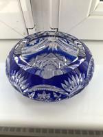 Blue lead crystal ashtray