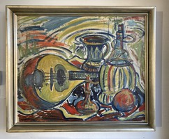 Frigyes Frank: still life with lute wine