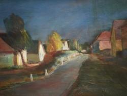 Unreadable sign (Beginning of 20th century): moonlit street