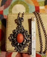 Antique silver coral necklace