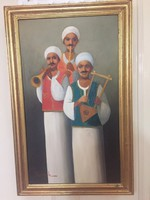 Musicians (1986) - signed, large-scale painting