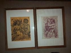 Imre Szemethy, 2 ink or screen, or etching or linocut graphics