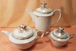 Together, 3-piece gilded bavaria porcelain set, 1 tea pourer, 1 coffee pourer, 1 sugar tart