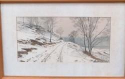 Dobroszláv Lajos (1902-1986) Akvarell Eredeti Garanciával