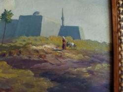 Szignózott festmény - Arab férfi szamárral