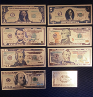 Certified, gilded US dollar set of banknotes, replica