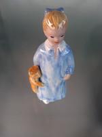Retro kerámia Kislány mackóval figura