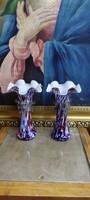 Pair of Murano glass, ruffled rim vase, flawless