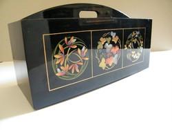 Nagyon szép, kézzel festett fekete lakk asztali doboz, tartó