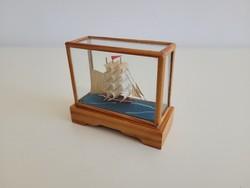 Retro old sailing ship mockup souvenir in glazed wooden box