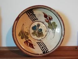 Ritka erdélyi virágmintás falitányér, falidísz, Beszterce