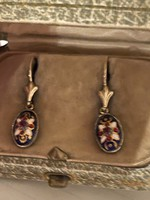 Old 14kr gold earrings with enameled decoration for sale Price: 48000.-