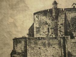 István Imre (1918-1983): castle side / Esztergom (large size!)