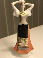 Aquincum porcelán figura, Lány népviseletben, 24 cm magas