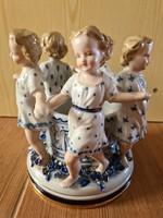 Nagyon ritka antik MEISSEN-i kardos porcelán bonbonier, váza, kaspo kislány figurákkal