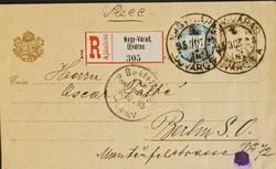1895. Kiegészített díjjegyes távolsági ajánlott  levelezőlap.