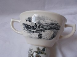 Dutch antique life scene with 2 ear cups and mug